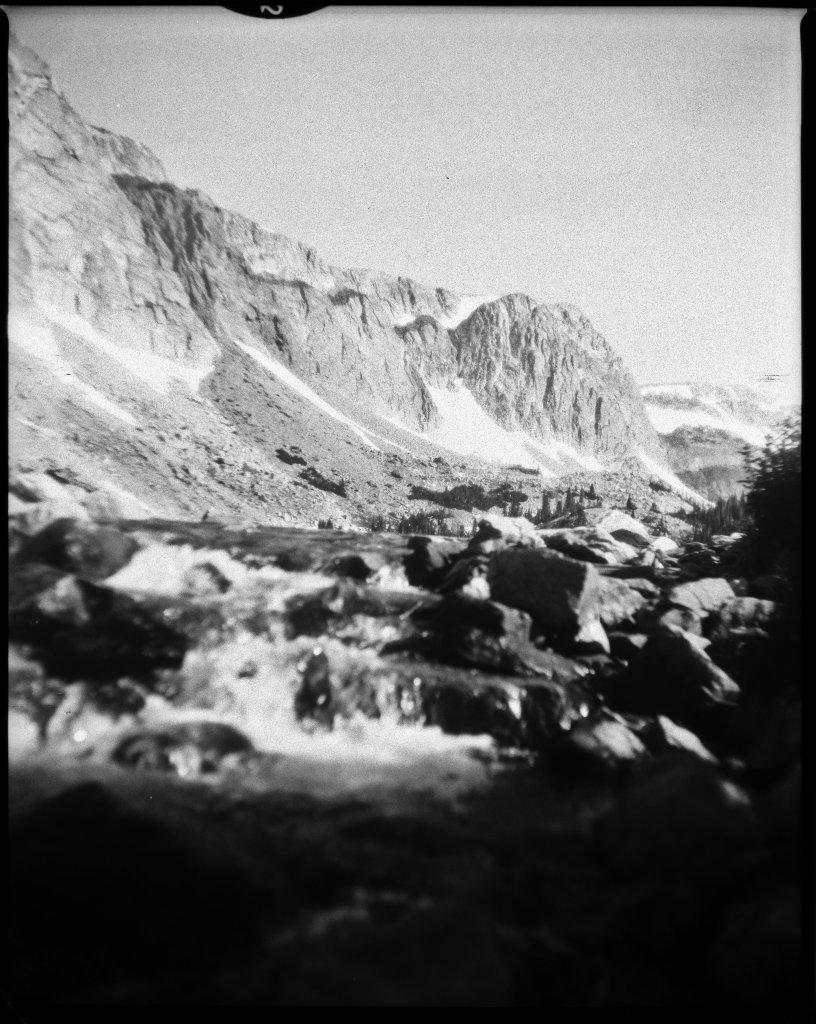 Camera: Graflex Crown Graphic (1954) Lens: Steinheil München Anastigmat Actinar 4.5; 135mm Film: Ultracruz Autoradiography Xray Film; 100iso Exposure: f/9; 1/200sec Process: HC-110; 1+100; 7min  Lake Marie, Wyoming July 2020